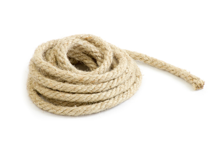 thick: Twisted thick rope on white