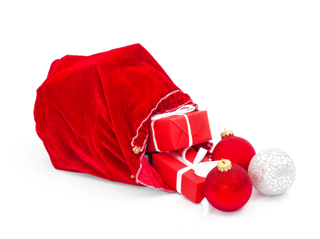 legends: Santa Claus red bag with Christmas balls and gift box