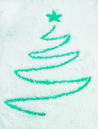 Christmas tree words on snow