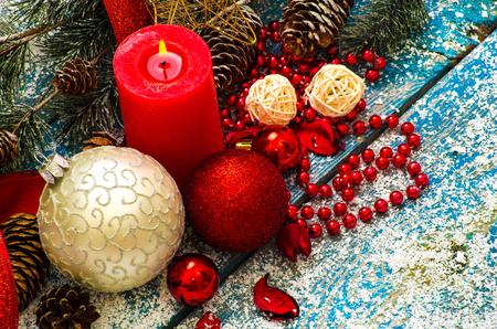 Christmas Decoration Over Wooden Background Zdjęcie Seryjne