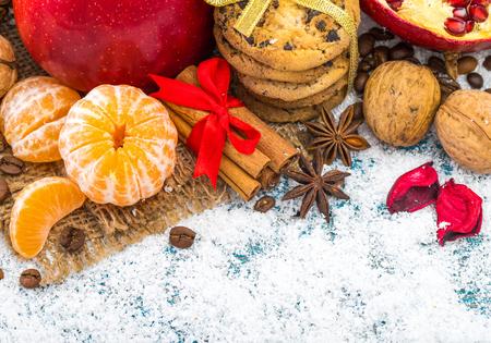 Christmas decoration hanging over wooden background Standard-Bild