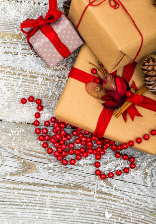 Christmas Decoration Over Wooden Background 版權商用圖片