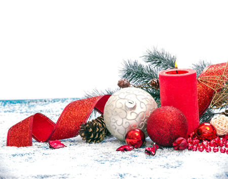Christmas decoration. Composition on wood background.