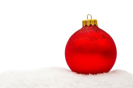 Red christmas balls on white background Zdjęcie Seryjne