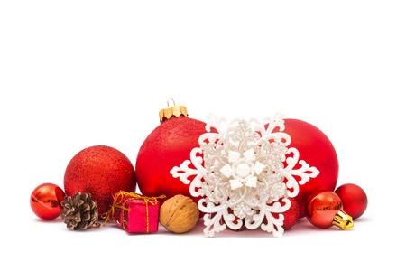 Red christmas balls on white background 版權商用圖片
