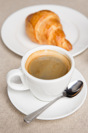 cip: A cip of coffee and croissant in a French coffee shop Stock Photo