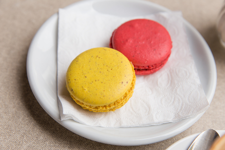Macarons in a coffee shop