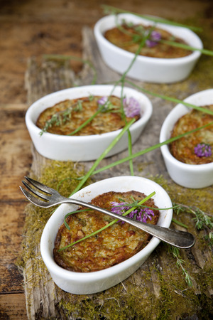 vegetables souffle vegan recipe oven baked with natural vintage rustic background  photo