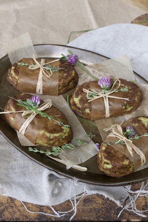 original recipe food style vegetables souffle with flowers photo
