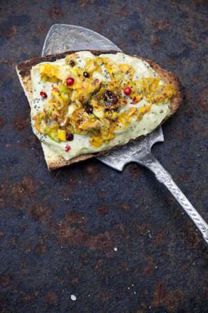 scraped: toasted bread snack with basil sauce and zucchini blossoms on rust scraped background with vintage silver scoop  Stock Photo