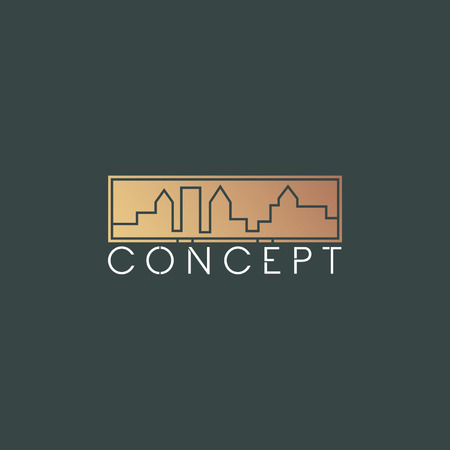 whites: Golden big city silhouette design and concept text with dark green background