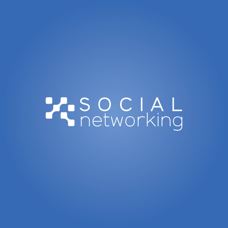 Social networking blauwe achtergrond wit design icoon