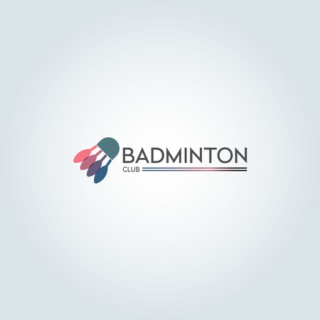 Minimalist flat color badminton icon design Stock Illustratie