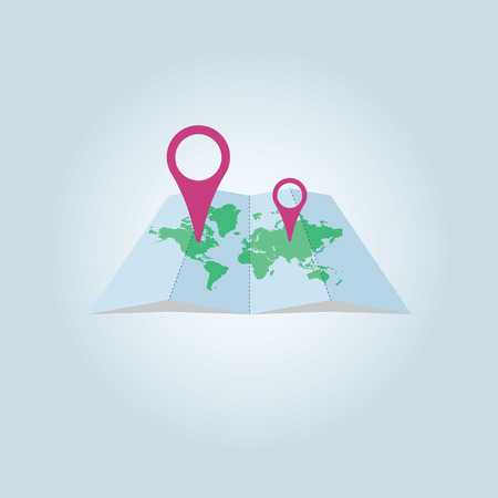 Placed on the world map location info Illustration