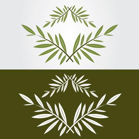 녹색과 흰색 아이콘 올리브 가지