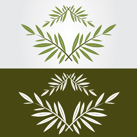 Green and white icon olive branch Illustration