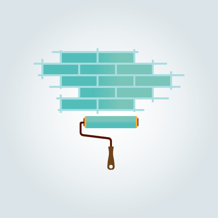 Blue brick wall and blue paint roller design