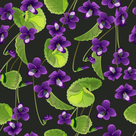 Seamless pattern with flowers violet illustration.