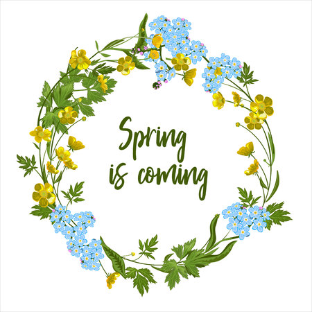 Wreath of spring flowers - forget-me-not, buttercup-poster, invitation or banner Vector illustration.