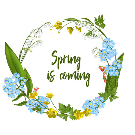 Wreath of spring flowers - poster, invitation or banner Standard-Bild - 98354340