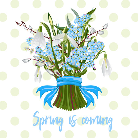 Bouquet of spring flowers vector illustration.