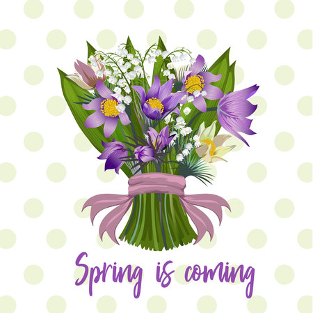 A bouquet of spring flowers vector illustration.