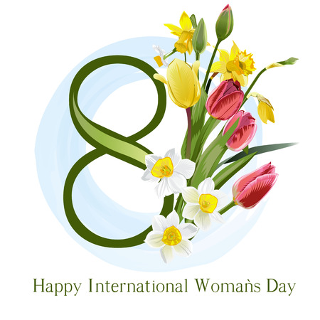 The international womens day with number and flowers.