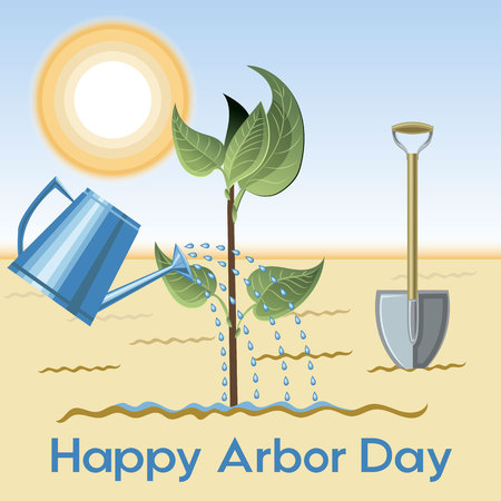 Happy Arbor Day banner background design with water plant and a shovel under a sun.