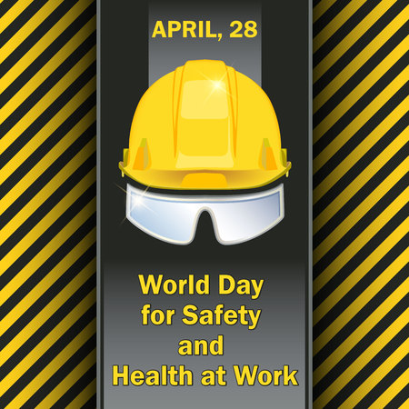 World Day for Safety and Health at Work - postcard, poster or banner Stock Illustratie