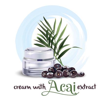 Cream with acai extract vector illustration design. Illustration