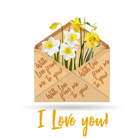 Kraft paper envelope with narcissus flower illustration.