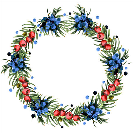 Wreath of yew and juniper branches for posters, advertising, postcards and other