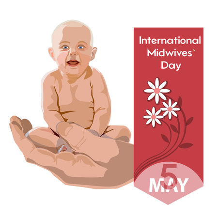International Midwives day - postcard, poster or banner. Baby isolated picture