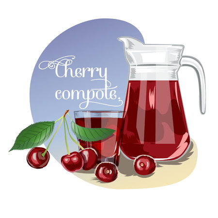 Cherry compote. For labels, banners, posters, postcards, textiles and other Example of serving