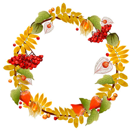 Autumn wreath of physalis and mountain ash. Isolated image. For postcards, posters, congratulations, approvals and other things.