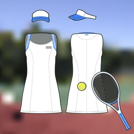 Professional female sports uniform for tennis 일러스트