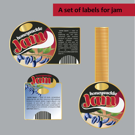 A set of labels for honeysucklejam. Isolated image. for polygraphy, banners, posters, labels, price tags Иллюстрация