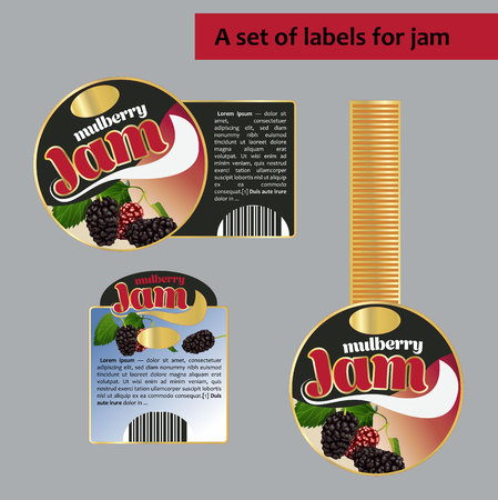 A set of labels for mulberry. Isolated image. for polygraphy, banners, posters, labels, price tags Illustration