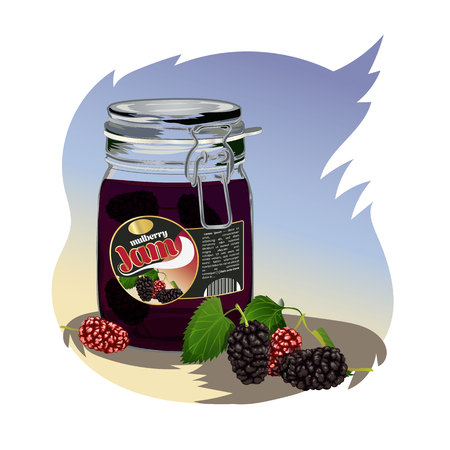 mulberry jam in the jar. Isolated image