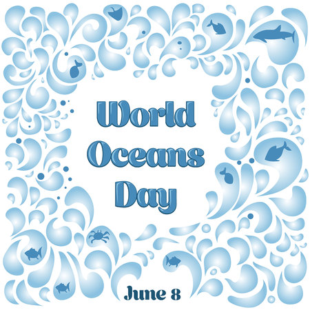 Vector square poster on World Oceans Day. A wave with a sailboat and a whale on it.
