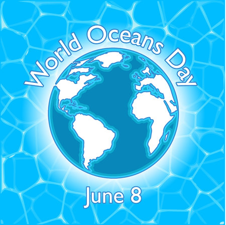 Postcard, poster or banner to the World Ocean Day. Image of the globe against the background of a watery surface. Vector Image 일러스트