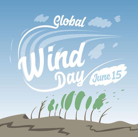 Global Wind day. 15 june. Greeting card. Vector Illustration 矢量图像
