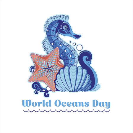 Poster in the style of handmade with a wave, seahorse, starfish and a shell for World Ocean Day