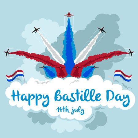 Happy Bastille Day. Illustration of jets flying in formation. Red, white and blue theme. Ilustração