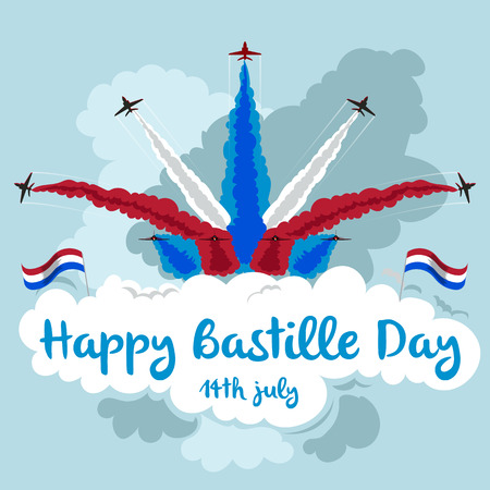 Happy Bastille Day. Illustration of jets flying in formation. Red, white and blue theme. Illustration