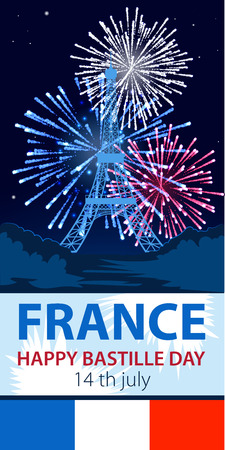 Vector illustration,card,banner or poster for the French National Day.Happy Bastille Day. 14 july