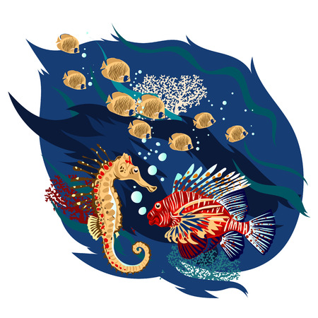 Cute fishes set, vector illustrations.