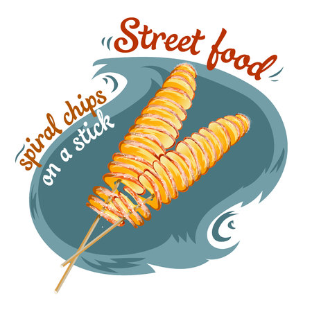 Spiral chips - Street food vector illustration of isolated realistic.