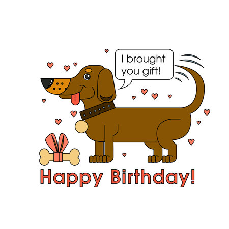 Happy Birthday card for dog lover. Happy dog of the breed of dachshund congratulates on his birthday Ilustração