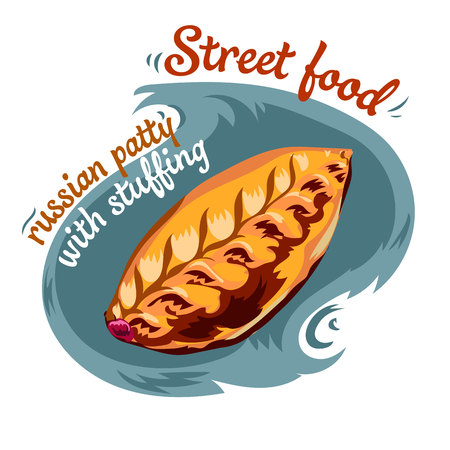 Traditional Russian patty with stuffing. Vector illustration.